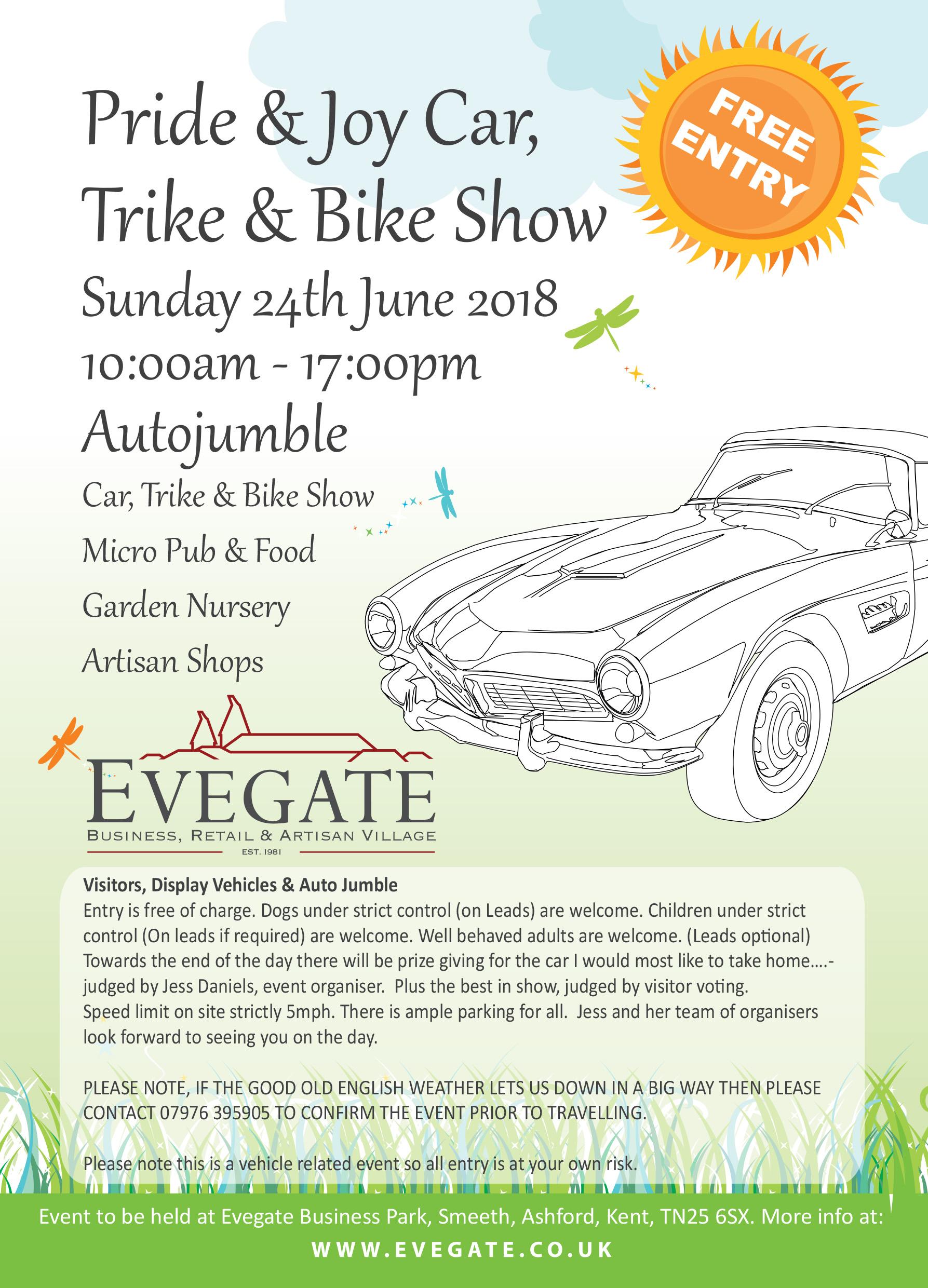 Pride & Joy Car, Trike & Bike Show – 24th June 2018
